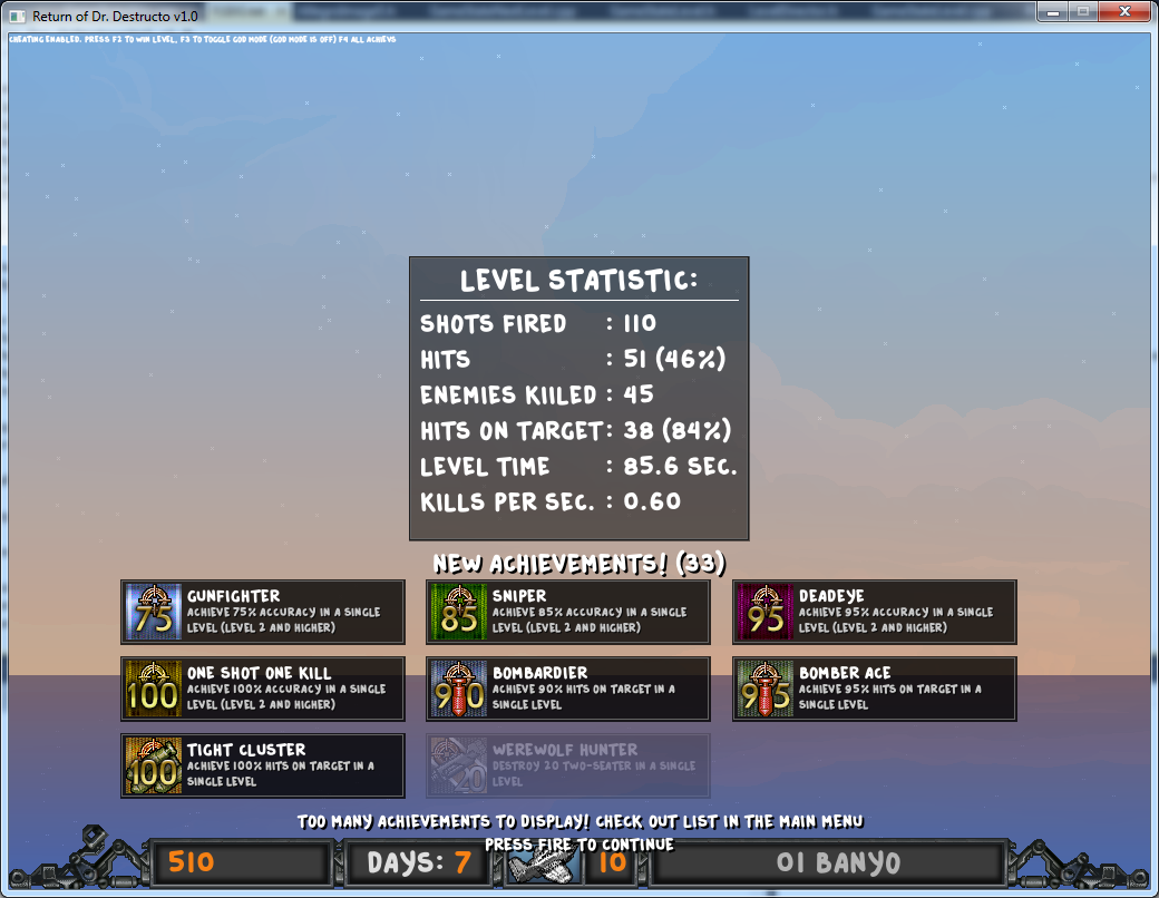 After-level statistics and achievements (unlocked via debug code, of course :) )
