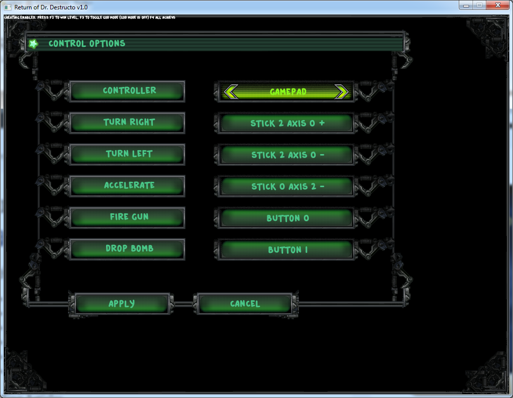 An in-game screenshot of controls menu.