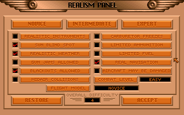 Red Baron's Realism Panel - one of the most detailed difficulty settings menu in history.